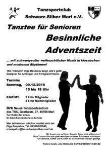 Besinnliche Adventszeit - Tanztee für Senioren