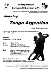 19.01.2019 - Workshop Tango Argentino - ABGESAGT !